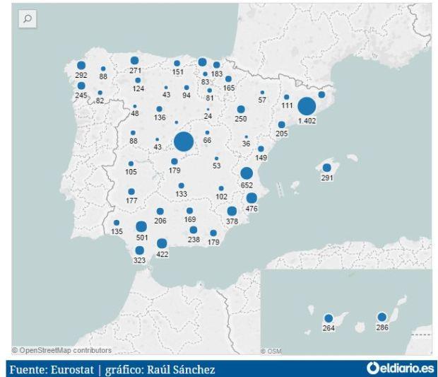 ¿Qué nº de personas se acogerían por ciudades españolas?